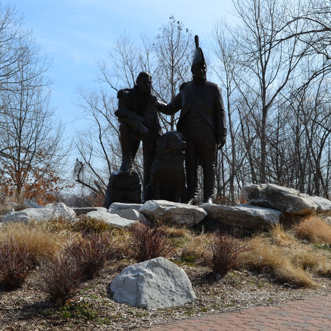 A 15 foot statue of exploration duo Lewis and Clark in St. Charles, MO.