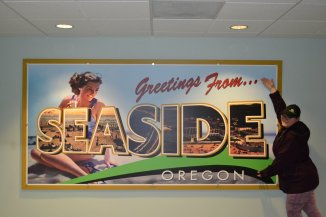 """There's nothing quite like the Oregon Coast. I had to """"Vanna"""" this giant postcard hanging at the resort we stayed at."""
