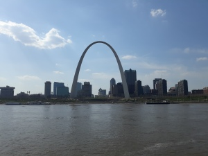Arch and St. Louis skyline from riverfront